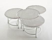 Contemporary coffee table / resin wicker / round / garden
