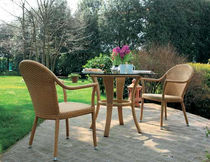 Contemporary chair / resin wicker / with armrests / garden