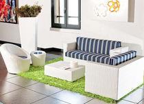 Contemporary sofa / outdoor / resin wicker / 2-seater