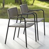 Contemporary chair / with armrests / stackable / metal