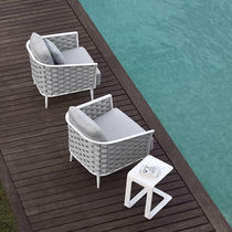 Contemporary armchair / fabric / rope / commercial