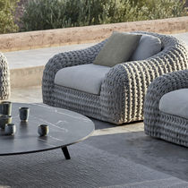 Contemporary armchair / fabric / with removable cushion / commercial