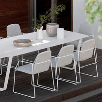 Contemporary chair / fabric / stainless steel / with armrests