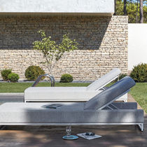 Contemporary sun lounger / fabric / aluminum / indoor