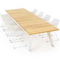 Contemporary table / hardwood / iroko / steel