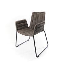 Contemporary armchair / fabric / aluminum / synthetic fiber