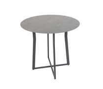 Contemporary bistro table / cement / stainless steel / rectangular