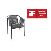 Contemporary armchair / stainless steel / garden