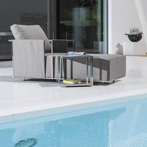 Contemporary side table / stainless steel / rectangular / square