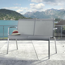 Garden bench / contemporary / teak / stainless steel