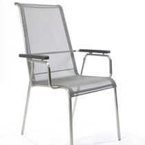 Contemporary chair / stackable / with armrests / metal