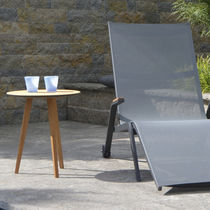Contemporary side table / teak / round / garden