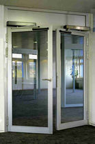 Swing entry door / automatic / double / glazed