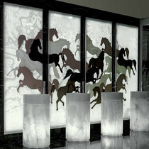 Marble decorative panel / wall-mounted / backlit / polished