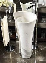 Free-standing washbasin / round / marble / original design