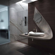 Countertop washbasin / marble / original design / with adjustable mirror
