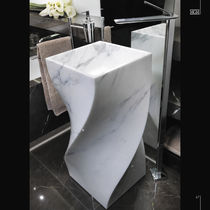 Free-standing washbasin / marble / original design / with adjustable mirror