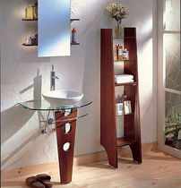 Glass washbasin stand / wooden