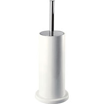 Chromed metal toilet brush / ceramic / floor