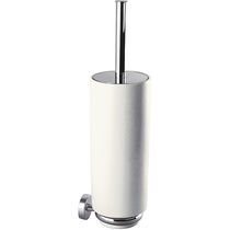 Chromed metal toilet brush / ceramic / wall-mounted