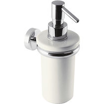 Professional soap dispenser / wall-mounted / chromed metal / ceramic