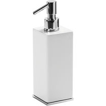 Professional soap dispenser / free-standing / chromed metal / ceramic