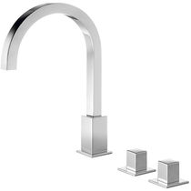 Washbasin double-handle mixer tap / free-standing / chromed metal / bathroom