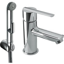 Bidet mixer tap / built-in / chromed metal / bathroom