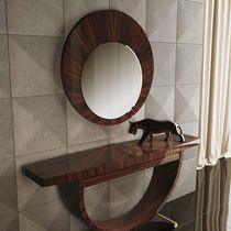 Wall-mounted mirror / contemporary / round / lacquered wood