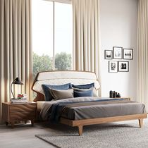 Double bed / contemporary / lacquered wood / fabric