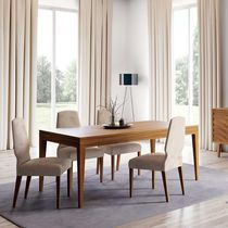 Contemporary dining table / wooden / rectangular / round