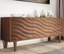 Contemporary sideboard / lacquered wood / white / gray
