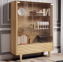 Contemporary display case / glass / lacquered wood