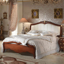 Double bed / classic / wooden / with upholstered headboard