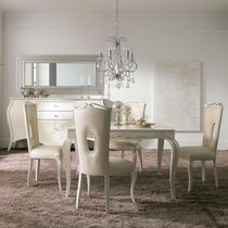 Classic dining table / lacquered wood / white