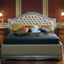 Double bed / classic / fabric / leather