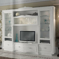 Traditional TV wall unit / wooden / lacquered wood