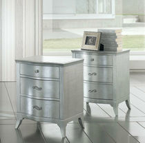 Traditional bedside table / lacquered wood / with drawer / silver