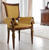 Traditional chair / with armrests / fabric / wooden
