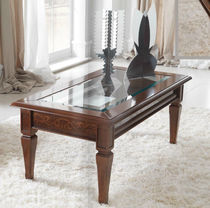 Traditional coffee table / wooden / glass