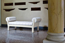 Contemporary upholstered bench / fabric / plastic / illuminated