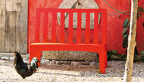 Garden bench / traditional / with backrest / in recyclable materials