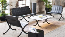 Contemporary coffee table / steel / rectangular / garden