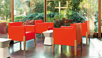 Contemporary armchair / low-density polyethylene LDPE / wood / garden
