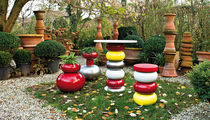 Contemporary side table / low-density polyethylene (LDPE) / round / garden