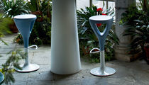 Contemporary bar stool / galvanized steel / low-density polyethylene (LDPE) / 100% recyclable