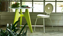 Contemporary table / MDF / lacquered MDF / bamboo