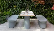 Garden bench / contemporary / illuminated / in recyclable materials