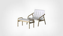 Contemporary armchair / beech / polyethylene / with footrest