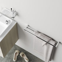 2-bar towel rack / wall-mounted / metal
